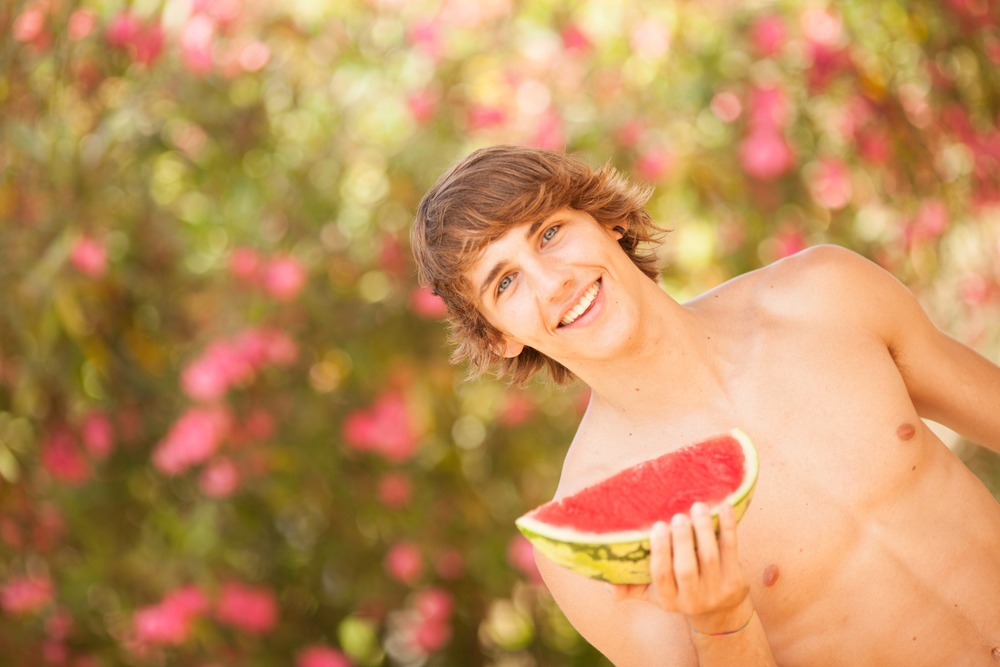 shirtless man with watermelon healthy