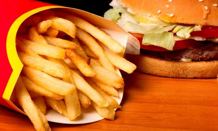 fast food burger and fries