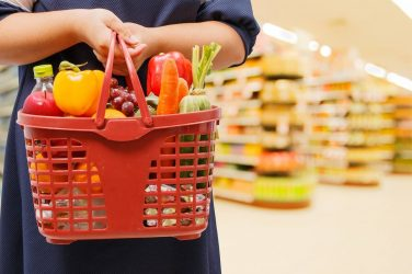 grocery basket filled with healthy fresh produce