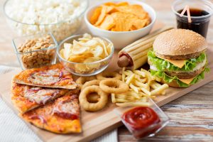 fast food staples, burger, pizza, fries