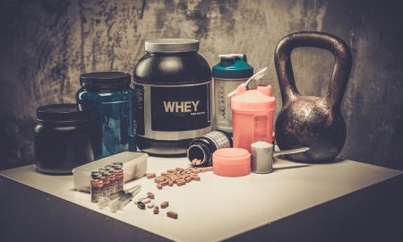 health and fitness supplements, protein and capsules