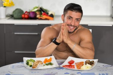 fit man with healthy diet for weight loss, nutritious meals