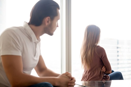 woman mad at partner, facing away