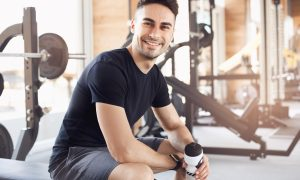 healthy fit man in gym