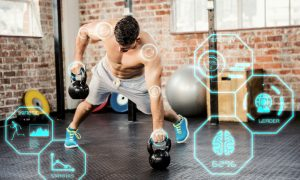 fit man lifting kettlebell with fitness interface and takes Progentra