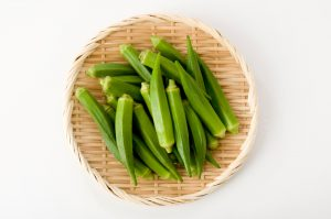 fresh okra in basket